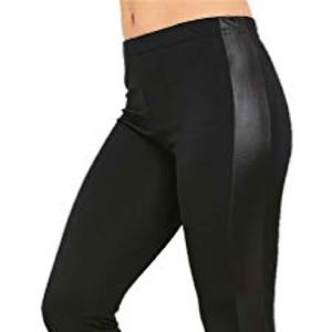 Pants - Black Leggings with Leather Side Paneling (xs)